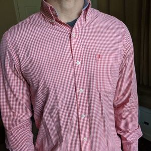 IZOD Red White Button Down Dress Shirt Small
